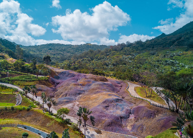 Colored earth at la Vallée des Couleurs in Mauritius