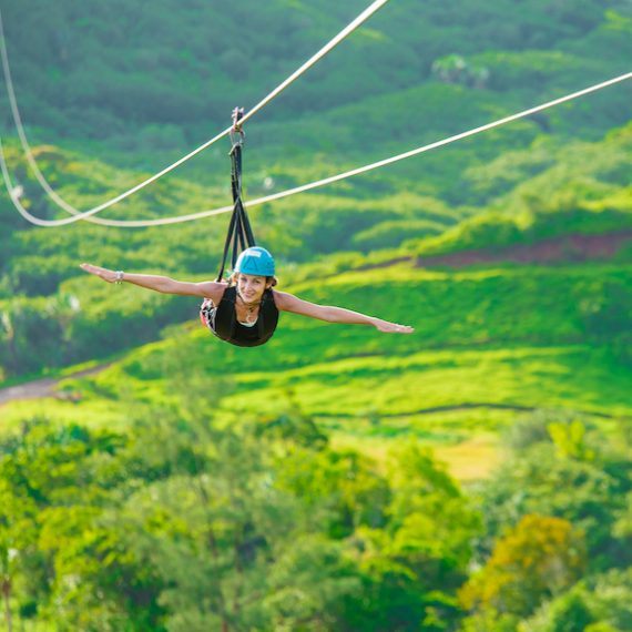 Zip line at la Vallée des Couleurs in Mauritius